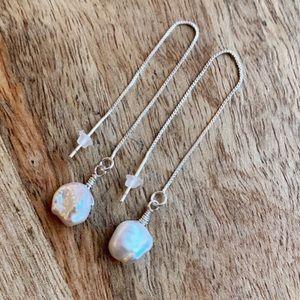 New. Sterling. Keshi pearl threader earrings